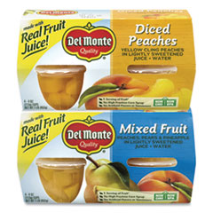 Del Monte® Diced Peaches and Mixed Fruit Cups, 4 oz Cups, 16 Cups/Box, Free Delivery in 1-4 Business Days