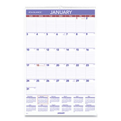 AT-A-GLANCE® Monthly Wall Calendar with Ruled Daily Blocks, 20 x 30, White, 2021