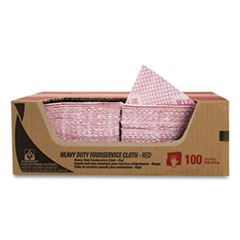WypAll® Heavy-Duty Foodservice Cloths, 12.5 x 23.5, Red, 100/Carton