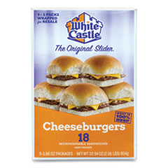 White Castle® Cheeseburger Sliders, 3.66 oz Pack, 2 Burgers/Pack, 9 Packs/Box, Delivered in 1-4 Business Days