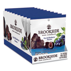 BROOKSIDE Dark Chocolate Acai and Blueberry, 3 oz Pouch, 10 Pouches/Box, Free Delivery in 1-4 Business Days