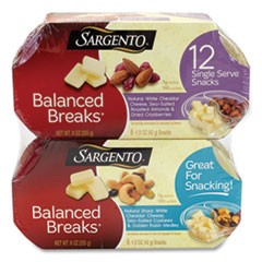 Sargento® Balanced Breaks, Two Assorted Flavor Packs, 1.5 oz Pack, 12 Packs/Box, Free Delivery in 1-4 Business Days