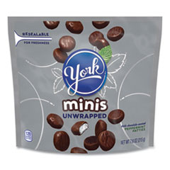 York® Unwrapped Minis Dark Chocolate Peppermint Patties, 7.6 oz Bag, 4 Bags/Pack, Free Delivery in 1-4 Business Days