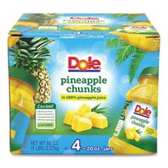 Dole® Pineapple Chunks in 100% Juice, 20 oz Jar, 4 Jars/Box, Free Delivery in 1-4 Business Days