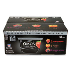 OIKOS® Triple Zero Blended Greek Nonfat Yogurt, 5.3 oz, Strawberry/Mixed Berry/Vanilla, 18/Box, Free Delivery in 1-4 Business Days