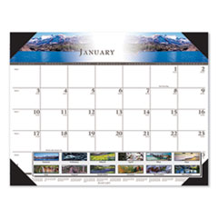 House of Doolittle™ Recycled Full-Color Photo Monthly Desk Pad Calendar, 22 x 17, 2021