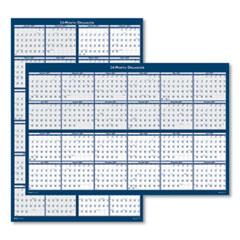 House of Doolittle™ Reversible/Erasable Two Year Wall Calendar, 24 x 37, Blue, 2021-2022