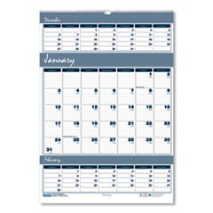 House of Doolittle™ Bar Harbor 100% Recycled Wirebound Three-Months-per-Page Wall Calendar