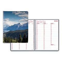 Brownline® Mountains Weekly Appointment Book, 11 x 8.5, Blue/Green/Black, 2022