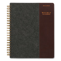 AT-A-GLANCE® Signature Collection Two-Toned Weekly/Monthly Planner, 11 x 8.5, Gray/Brown, 2021