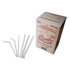 "Berkley Square Individually Wrapped Straws, 7.75"", Polypropylene, White, 400/Box"