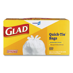 "Glad® Tall Kitchen Quick-Tie Bags, 13 gal, 0.66 mil, 23.75"" x 28"", White, 200/Box"