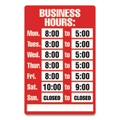 COSCO Open/Closed Business Hours Sign Kit, 8 x 12, Red