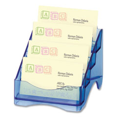 Officemate Glacier Four-Tier Business Card Holder, Holds 200 Cards, 4 x 4 x 3.75, Plastic, Blue