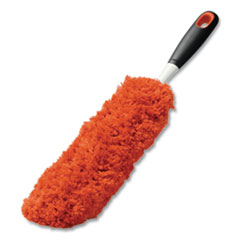"OXO Good Grips Microfiber Duster, 4 x 12 Orange Duster Head, 6"" Black Handle"
