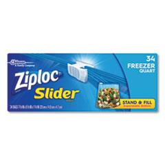 """Ziploc® Slider Freezer Bags, 1 qt, 1.75 mil, 5.88"""" x 1.88"""" x 7.88"""", Clear, 34/Box"""