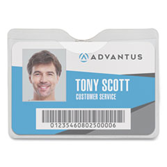 Security ID Badge Holder with Clip, Horizontal, 3.5 x 3, Clear, 50/Box