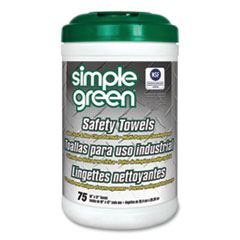 Simple Green® Safety Towels, 10 x 11 3/4, 75/Canister, 6 per Carton