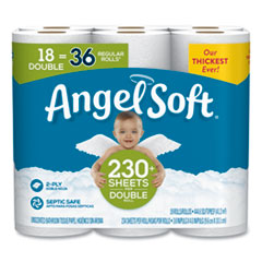 Angel Soft® Double-Roll Bathroom Tissue, Septic Safe, 2-Ply, White, 3.8 x 4.41, 230 Sheets/Roll, 18 Rolls/Carton