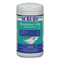 SCRUBS® MEDAPHENE Plus Disinfecting Wipes, Citrus, 8 x 7, White, 65/Canister, 6/Carton