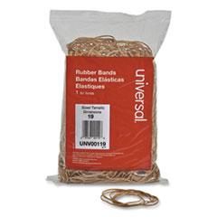 """Universal® Rubber Bands, Size 19, 0.04"""" Gauge, Beige, 1 lb Bag, 1,240/Pack"""