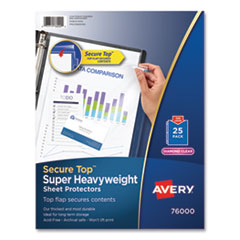 Avery® Secure Top Sheet Protectors, Super Heavy Gauge, Letter, Diamond Clear, 25/Pack