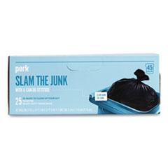 "Perk™ Twist-Tie Heavy-Duty Trash Bags, 45 gal, 1.1 mil, 45"" x 38"", Black, 25/Box"