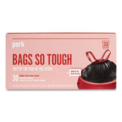 """Perk™ Drawstring Heavy-Duty Trash Bags, 33 gal, 1.1 mil, 37"""" x 33"""", Black, 30/Box"""