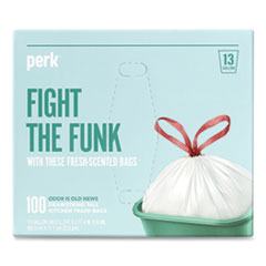 "Perk™ Scented Drawstring Tall Kitchen Trash Bags, 13 gal, 0.9 mil, 28"" x 24"", White, 100/Box"