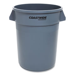Coastwide Professional™ Open Top Round Trash Can, Plastic, 32 gal, Gray