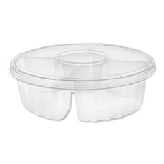 "Pactiv Dip Cup Platter, 4-Compartment, 64 oz, 10"" Diameter, Clear, 100/Carton"