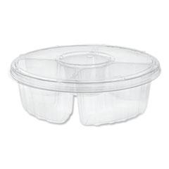 "Pactiv Dip Cup Platter, 4-Compartment, 10"" dia, 64 oz, Clear, 100/Carton"