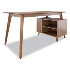"Union & Scale™ MidMod Storage Desk, Gold Pull, 59.7"" x 29.4"" x 29.5"", Espresso"