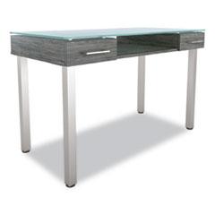 """Union & Scale™ Prestige Glass Writing Desk, 47.1"""" x 23.5"""" x 29.5"""", Gray"""