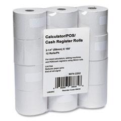 "Iconex™ Impact Bond Paper Rolls, 2.25"" x 150 ft, White, 12/Pack"