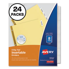 Insertable Big Tab Dividers, 8-Tab, Letter, 24 Sets