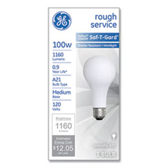 GE Rough Service Incandescent Worklight Bulb, A21, 100 W, 1,160 lm