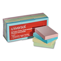 Universal® Self-Stick Note Pads, 1 1/2 x 2, Assorted Pastel Colors, 100-Sheet, 12/Pack