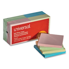 Universal® Self-Stick Note Pads, 3 x 3, Assorted Pastel Colors, 100-Sheet, 12/Pack