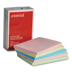 Universal® Self-Stick Note Pads, 4 x 6, Lined, Assorted Pastel Colors, 100-Sheet, 5/PK