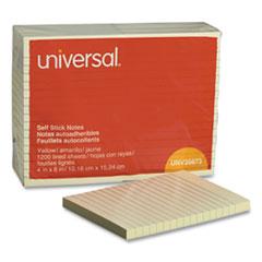 Universal® Self-Stick Note Pads, Lined, 4 x 6, Yellow, 100-Sheet, 12/Pack