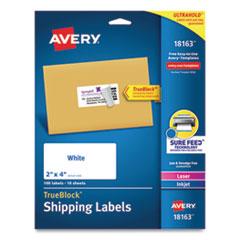 Avery® Shipping Labels w/ TrueBlock Technology, Inkjet Printers, 2 x 4, White, 10/Sheet, 10 Sheets/Pack