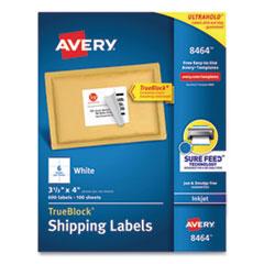 Avery® Shipping Labels w/ TrueBlock Technology, Inkjet Printers, 3.33 x 4, White, 6/Sheet, 100 Sheets/Box