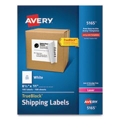 Avery® Shipping Labels with TrueBlock Technology, Laser Printers, 8.5 x 11, White, 100/Box