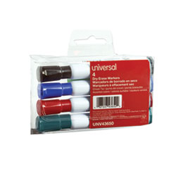 Universal™ Dry Erase Marker, Broad Chisel Tip, Assorted Colors, 4/Set