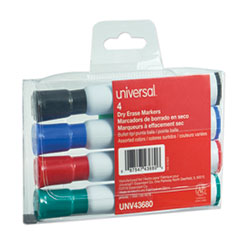 Dry Erase Marker, Medium Bullet Tip, Assorted Colors, 4/Set