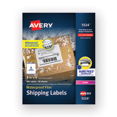 Waterproof Shipping Labels with TrueBlock and Sure Feed, Laser Printers, 3.33 x 4, White, 6/Sheet, 50 Sheets/Pack