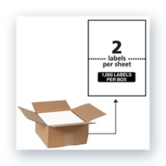 Waterproof Shipping Labels with TrueBlock Technology, Laser Printers, 5.5 x 8.5, White, 2/Sheet, 500 Sheets/Box