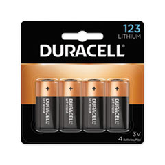 Duracell® Specialty High-Power Lithium Batteries, 123, 3 V, 4/Pack