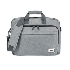 """Solo Sustainable Re:cycled Collection Laptop Bag, For 15.6"""" Laptops, 16.25 x 4.5 x 12, Gray"""
